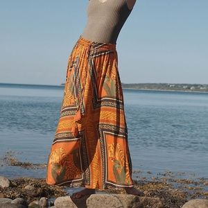 ANTHROPOLOGIE Farm Rio Tigress Maxi Skirt L